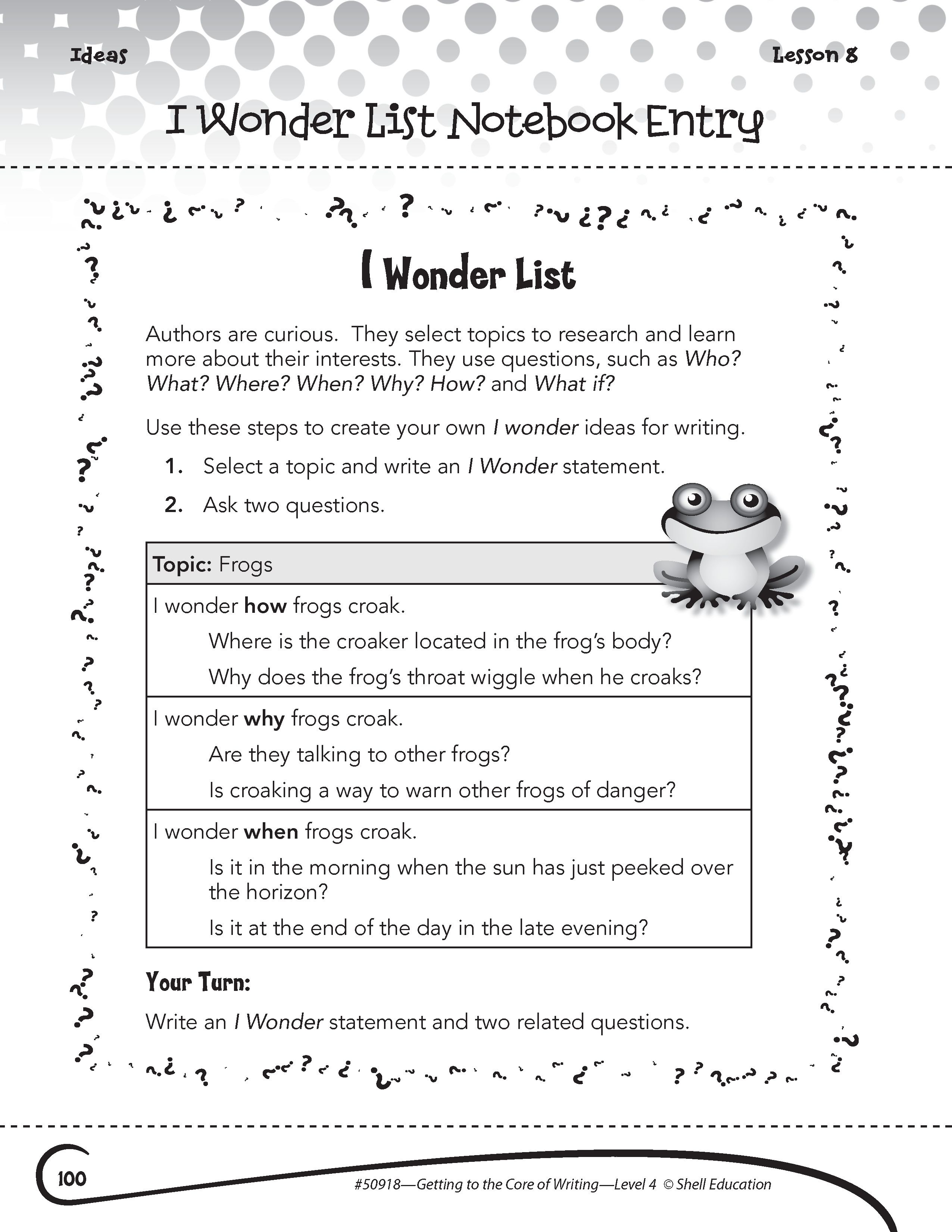 I Wonder List Notebook Entry Activity From Getting To The Core Of Writing Fourth Grade Lear Teacher Created Materials Writing Worksheets 4th Grade Writing [ 3301 x 2551 Pixel ]