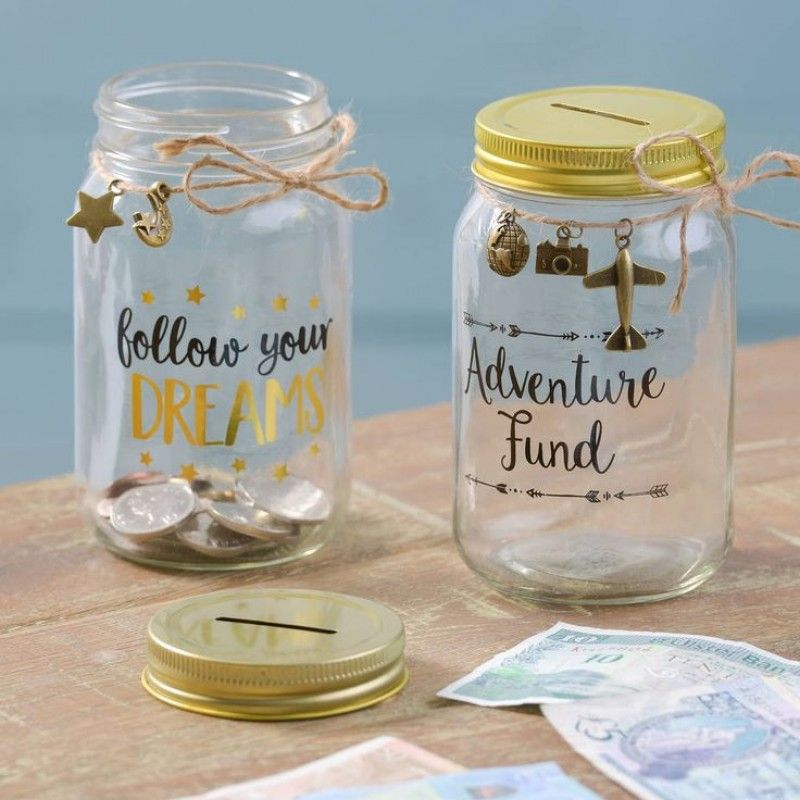 Mr /& Mrs Fund Gold Money Jar Box by Sass and Belle