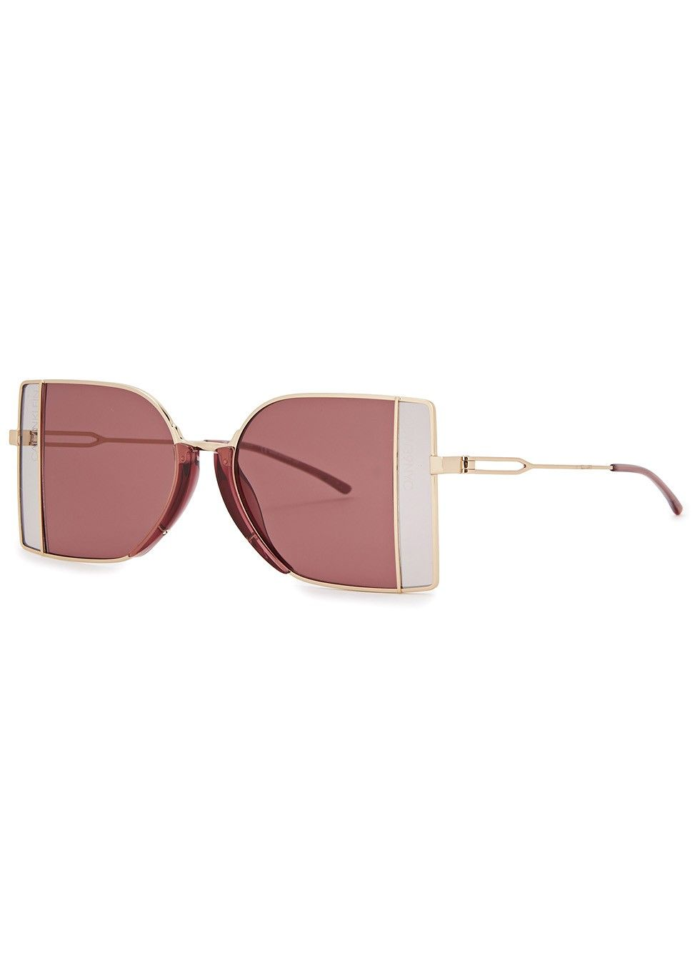 fff5244956fe Calvin Klein gold tone metal sunglasses Designer-stamped grey and dark  purple panelled lenses