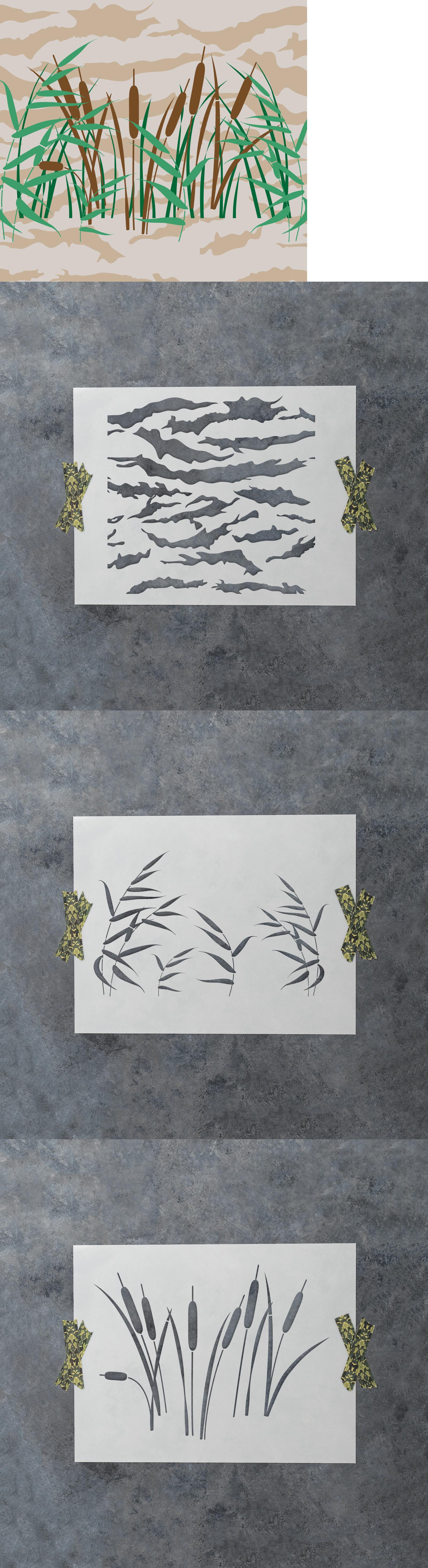 Stencils and Templates 183185: Camo Stencil - Reusable 4-Piece ...