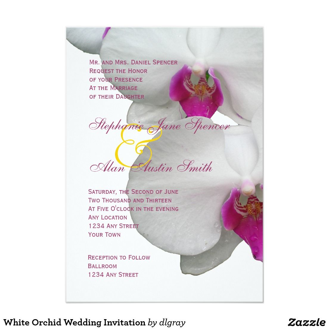 White Orchid Wedding Invitation | Orchid wedding invitations, White ...