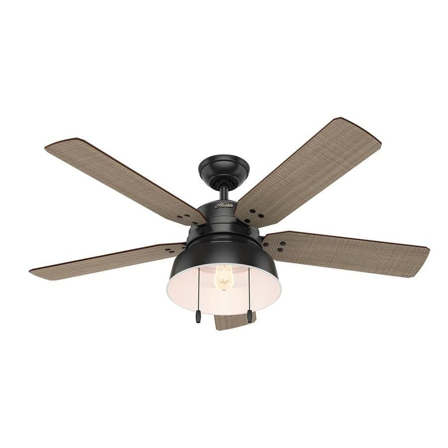 Hunter 1 Pack Mill Valley 52 In Matte Black Downrod Or Close Mount Indoor Outdoor Ceiling Fan Black Ceiling Fan Ceiling Fan With Light Flush Mount Ceiling Fan