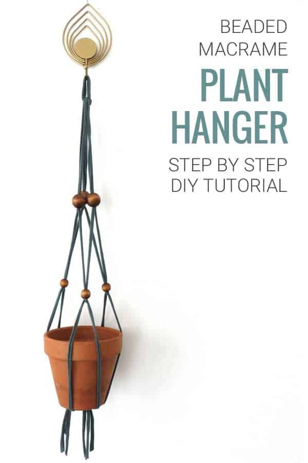 DIY Beaded Macrame Plant Hanger is part of Macrame plant hanger tutorial, Diy plant hanger, Diy macrame plant hanger, Plant hanger, Macrame plant hanger, Plant crafts - Learn how to create your own beaded macrame plant hanger  A step by step DIY tutorial with pictures  Using only a basic knot to keep it easy