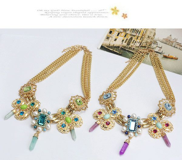 Tinsel Pink Diamond Decorated Hollow Out Flower Design Alloy Fashion Necklaces ,Fashion Necklaces