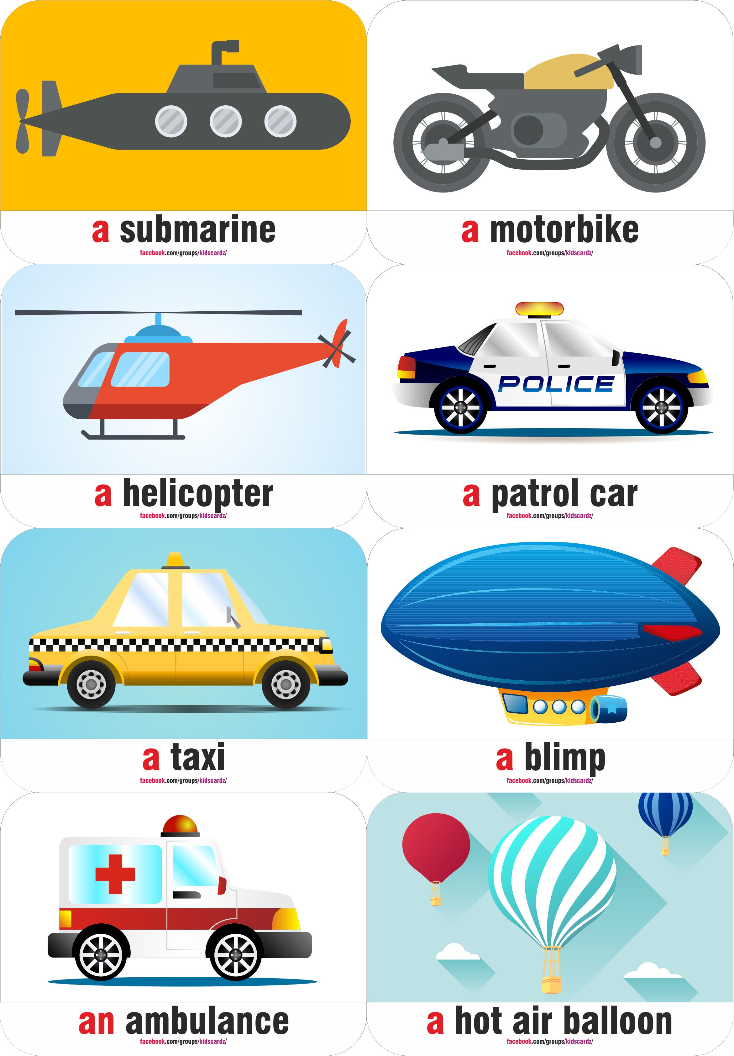 Transportation Flash Cards | Kids english, Preschool ...