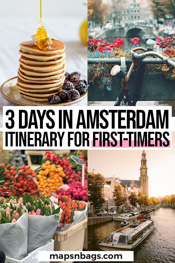 Your best itinerary for 3 days in Amsterdam! It includes all the information you need to visit Amsterdam, such as where to stay, where to eat, how to get around, a free map, and much more! | Amsterdam travel tips | traveling to Amsterdam | Holland travel tips | things to do in Amsterdam | places to visit in Amsterdam | Amsterdam bucket list #Netherlands #Amsterdam #travel #europe #holland #winter #summer #thingstodo #mapsnbags
