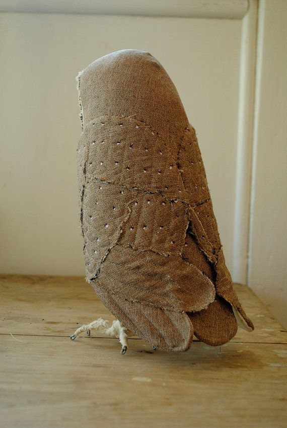 Large barn owl soft sculpture / textile art / made to by willowynn -   24 fabric owl crafts