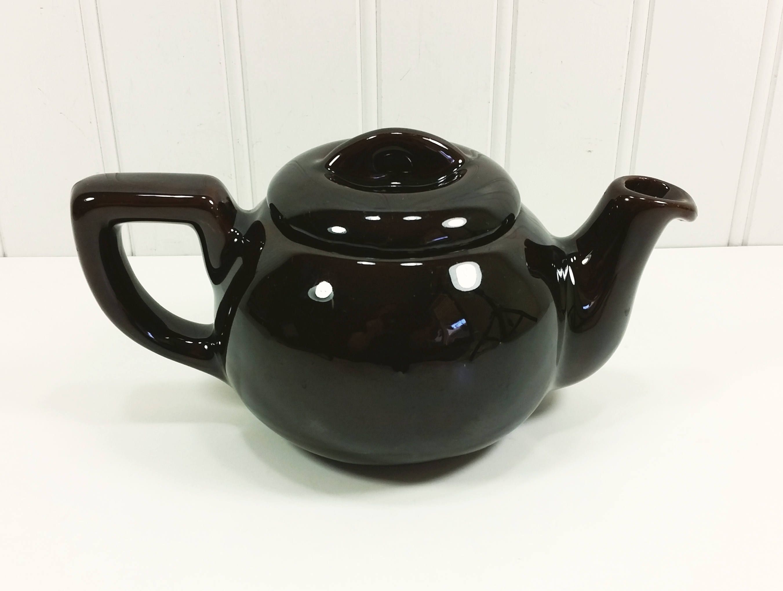 Small Brown Teapot Royal Canadian Art Pottery Dark Chocolate Etsy Tea Pots Pottery Art Pottery