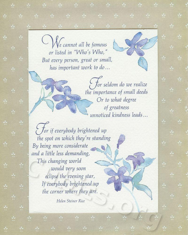 helen steiner rice inspirational poems .. Brighten Your ...