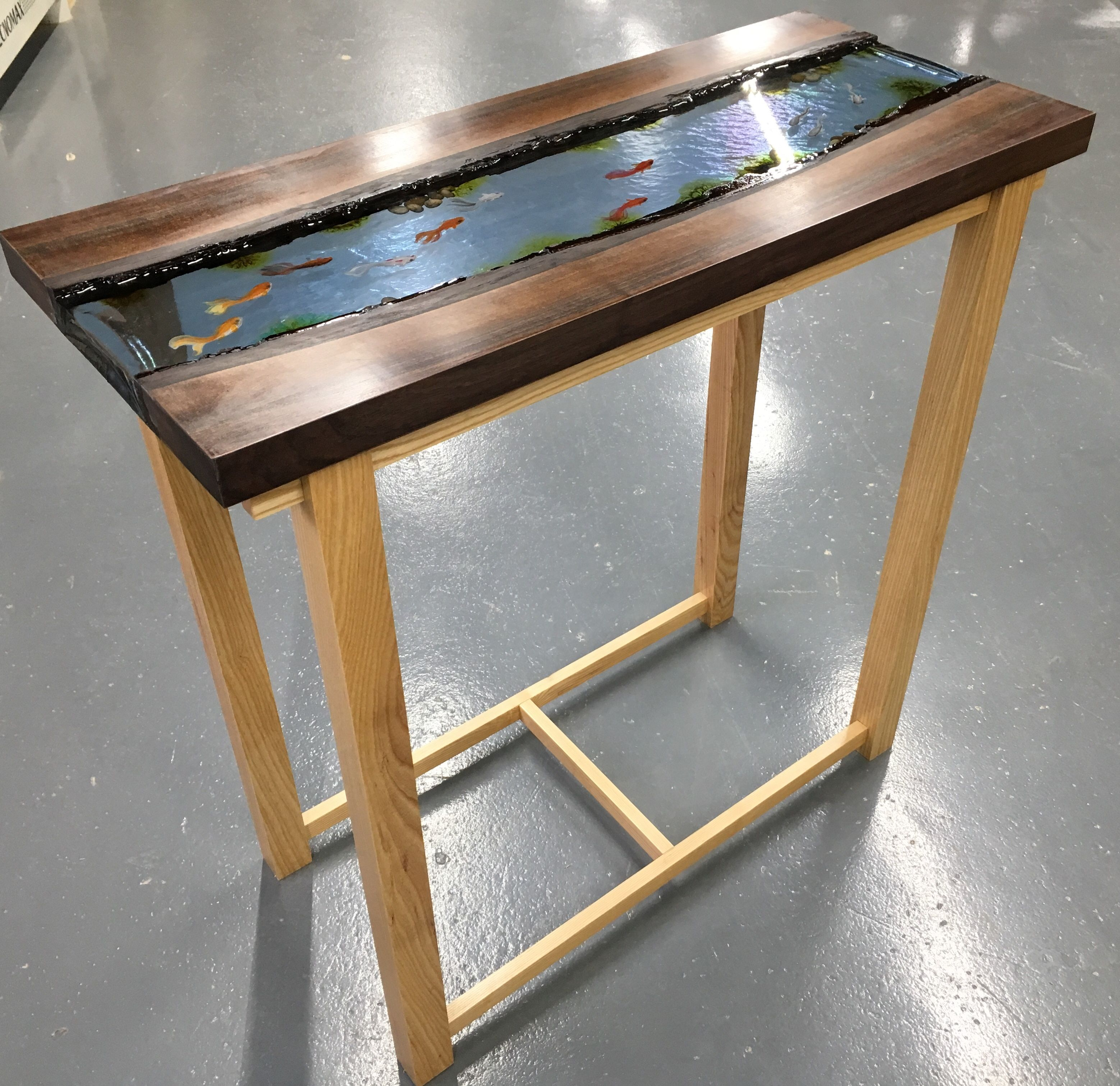 Walnut And Ash River Table Epoxy Resin With Fish Painted In