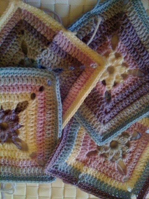 all 4 begonia's by isolde2006, via Flickr - design by Jan Eaton - 200 Crochet Blocks