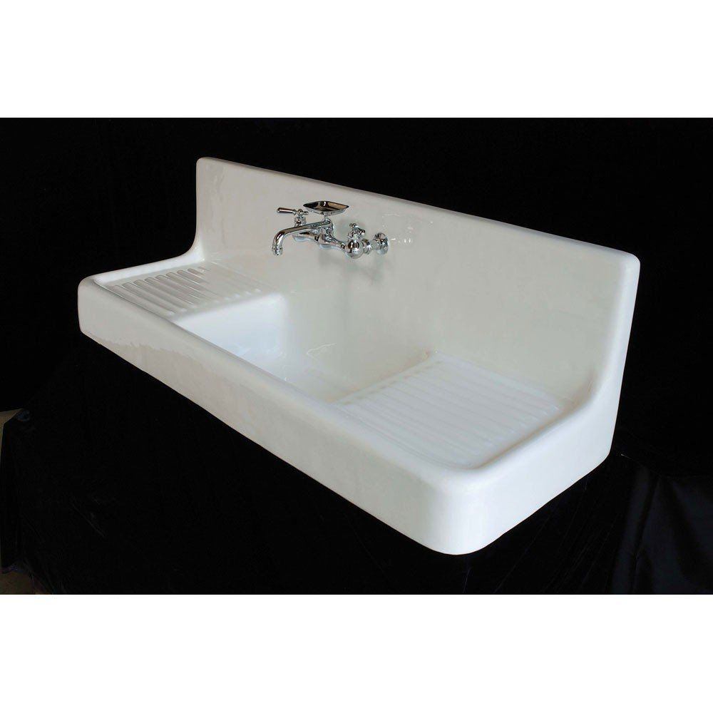Strom Plumbing Clarion Farmhouse Drainboard Sink - 8 Inch Faucet Drillings - Cast Iron Kitchen Sinks - Kitchen Sinks - Kitchen