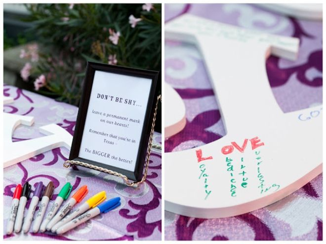 Creative Guestbook idea: Initial letters where guests can sign and write notes!
