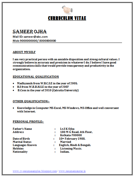Best Simple Resume Format For Freshers