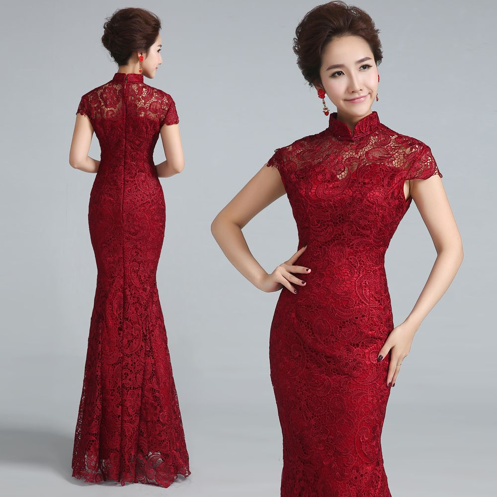 Wine Red Lace Wedding Cheongsam Modern Chinese Traditional Dress Qipao  Evening Dresses Long Qi Pao Formal Vintage Robe Chinoise bf3f9e92d684