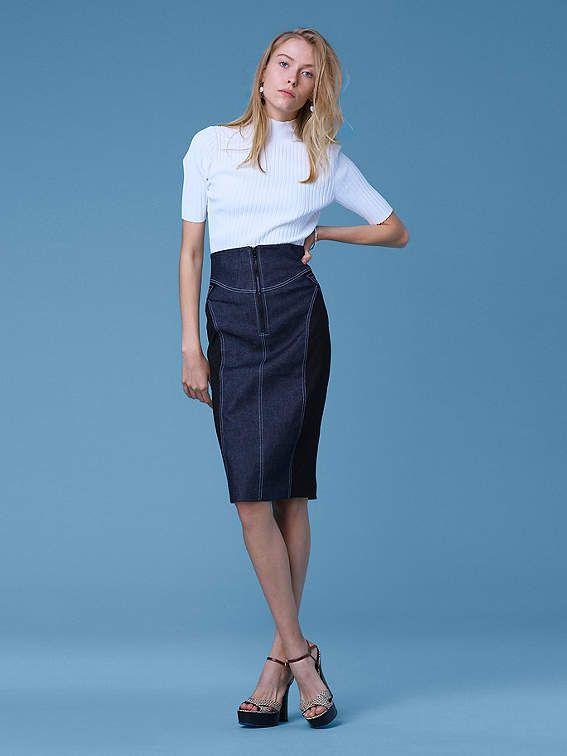 f450c355f Diane von Furstenberg Zip Front Jean Skirt | Products | Jean skirt ...