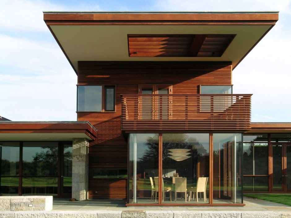 exterior design pretty wood exterior with balcony above all glass dining room house by leroy street - House Design Gallery
