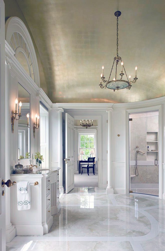 white bathroom Gold leaf ceiling Marble