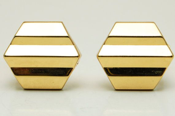 Vintage Signed Christian Dior Hollywood Regency Art Deco Style Shiny Hexagon Clip Statement Earrings