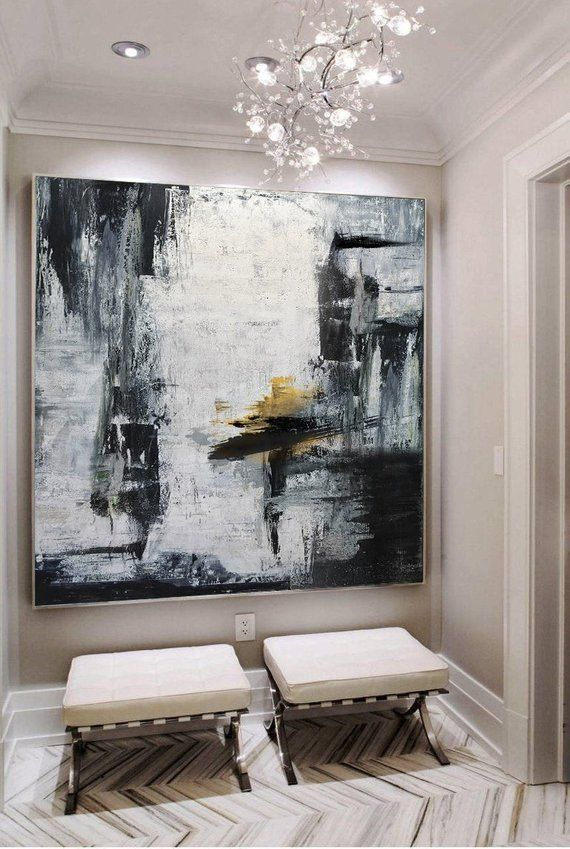 Gold Canvas Art Black White Painting Large Abstract Painting Horizontal Wall Art Handmade Large Wall Art Wall Decor Art Large Canvas Art Horizontal Wall Art White Painting Large Abstract Painting