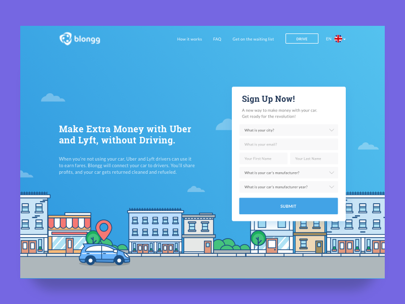 Sharing Car to Uber and Lyft Driver Landing page