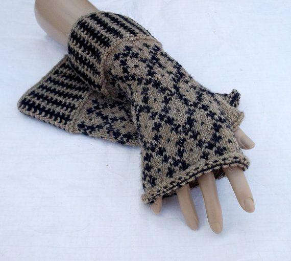 hand knitted fingerless mittens brown black by peonijahandmadeshop