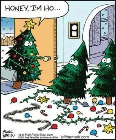 Christmas Trees With Decorations On Floor Funny Christmas Humor Christmas Memes Christmas Comics