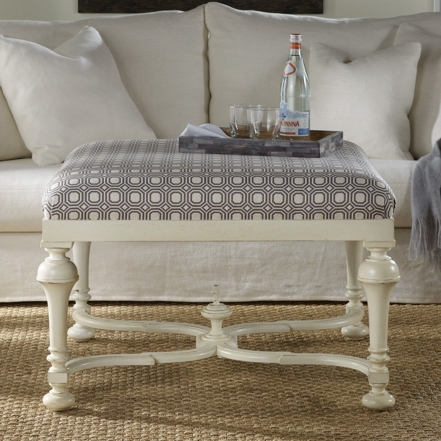 ottoman with turned legs, with different fabric... | house ...