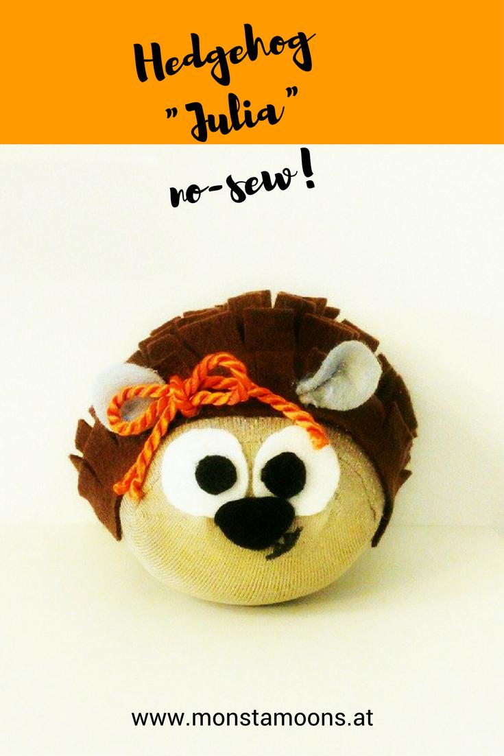 #Hedgehoh no-sew craft. Süßes #Igel Mädchen aus einem #Socken! #Nähfrei!#Sockentier #sockanimals
