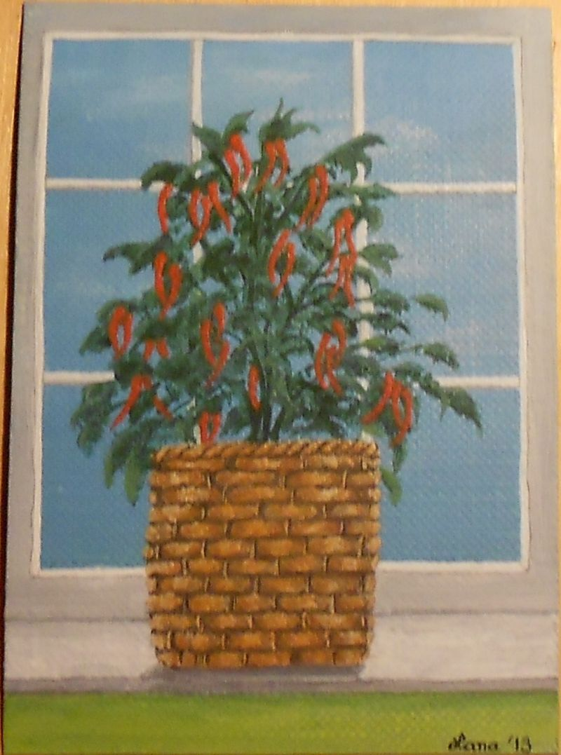 2013, Pepper Plant, ACEO Art Card, ebay@packrat-2013