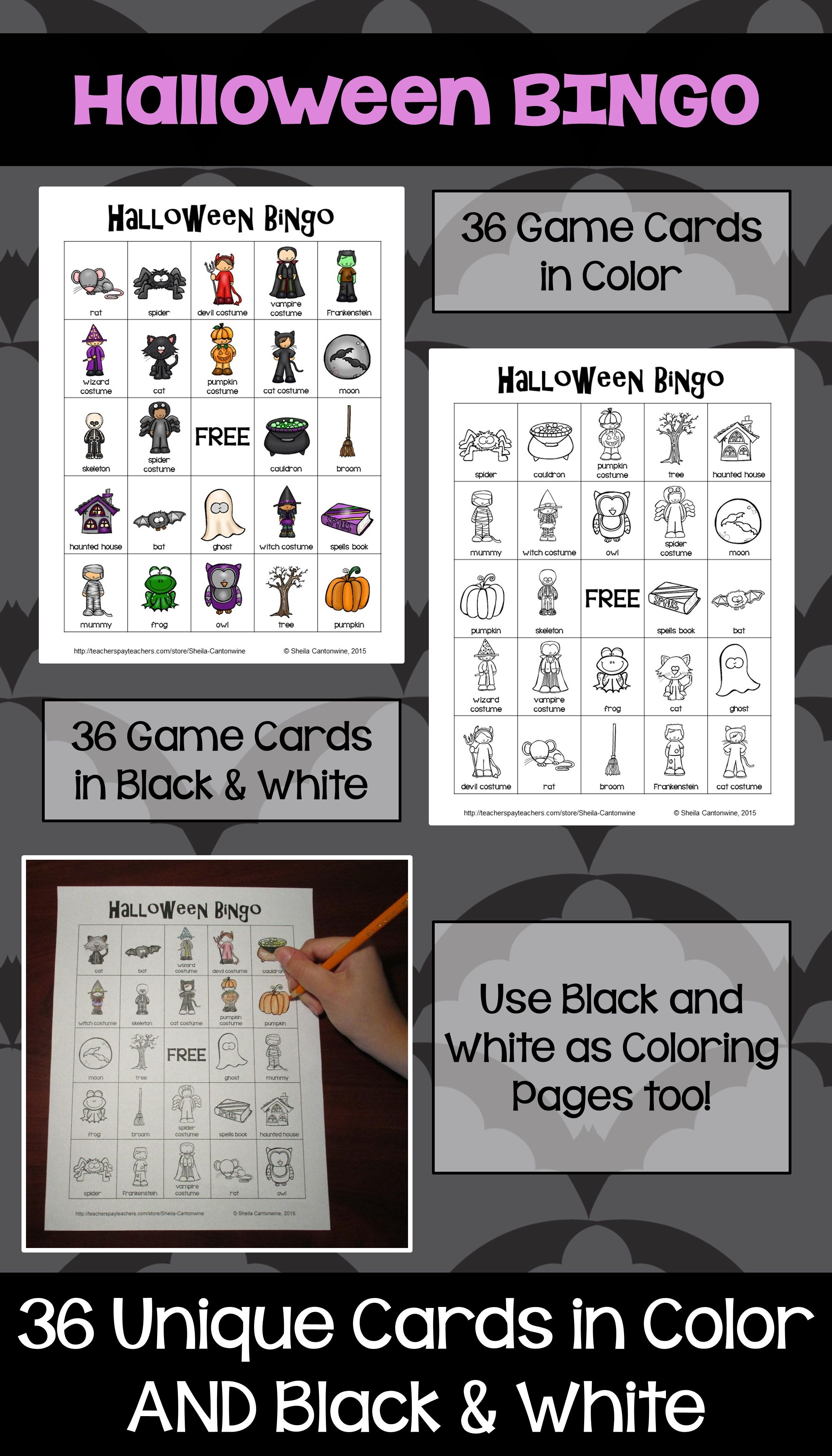 Halloween Bingo - 36 Unique Game Cards in Color and Black and White ...