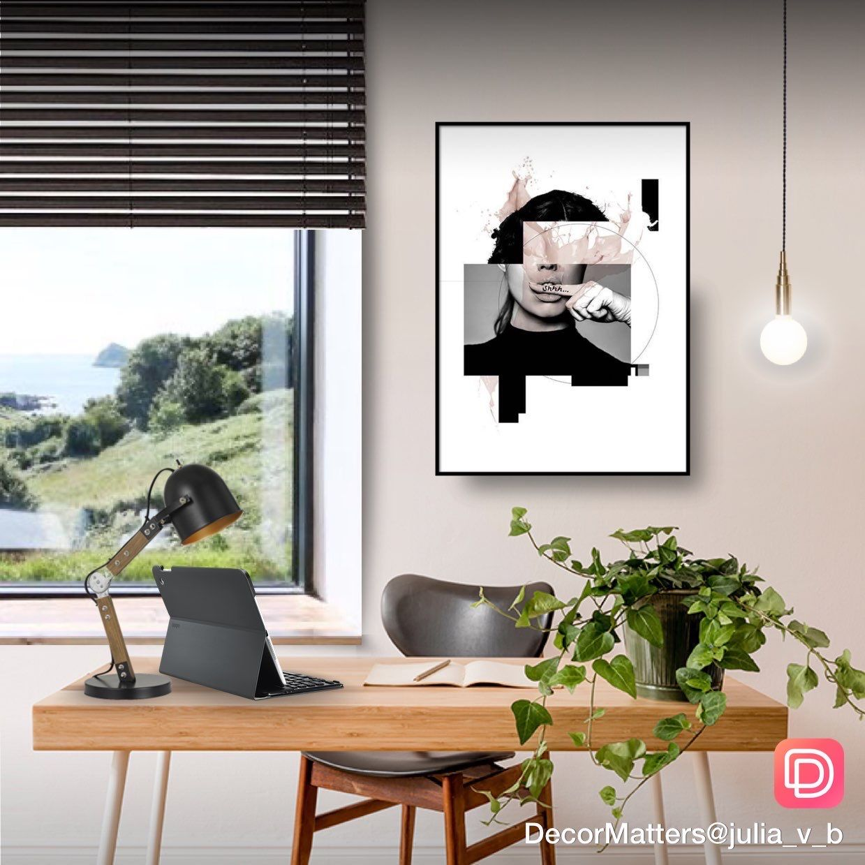 A productive home office corner by the window. Click the image to try our free home design app.  (Keywords: interior design apps, room design app, free home decor app, dream rooms, dream house, house design, room ideas, home decor, design home, decormatters, decormatters app, decor matters, home decor ideas, DIY home decor, positive vibes, positive thoughts)