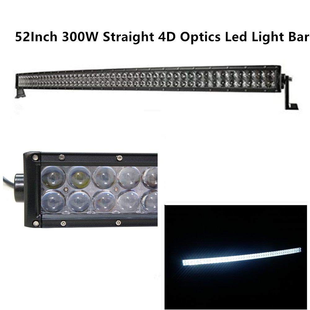 Shining Light Bar Straight 4d Cree Led Light Bar 300w 52 Inch 30000lm Off Road Flood Spot Combo Beam 3w 100 Waterpro Cree Led Light Bar Led Light Bars Cree Led