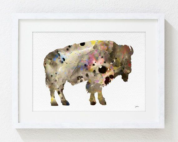 Bison Watercolor Painting 5x7 Archival Art Print Bison Print