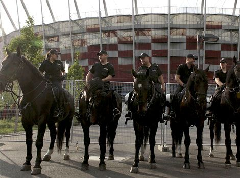 Mounted Police In Front Of The National Stadium In Warsaw Poland National Stadium Village World