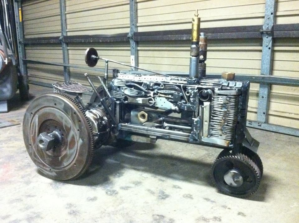 Metal art tractor by deveren b farley art pinterest for Tractor art projects