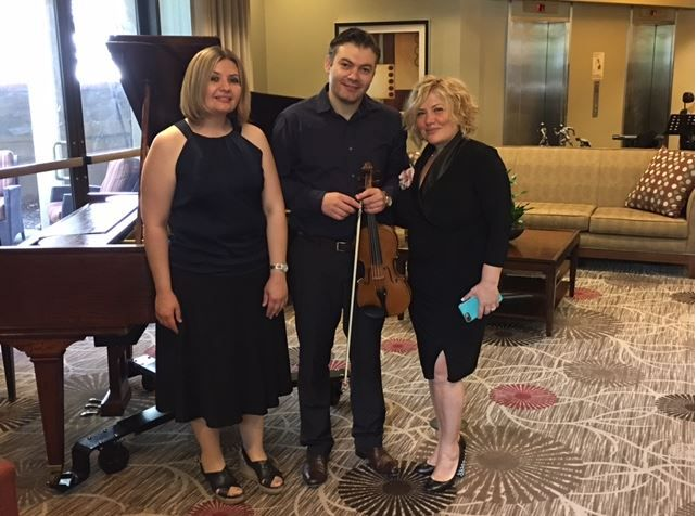 CEO of Hospice of Grace Arpi Kestenian with the wonderful musicians Ruben Aghiyan and Shushana Hakobyan who provided spiritual music for The Heights of Burbank. #HospiceofGrace  (818) 452-3737 Free Consultation www.hospiceofgrace.com