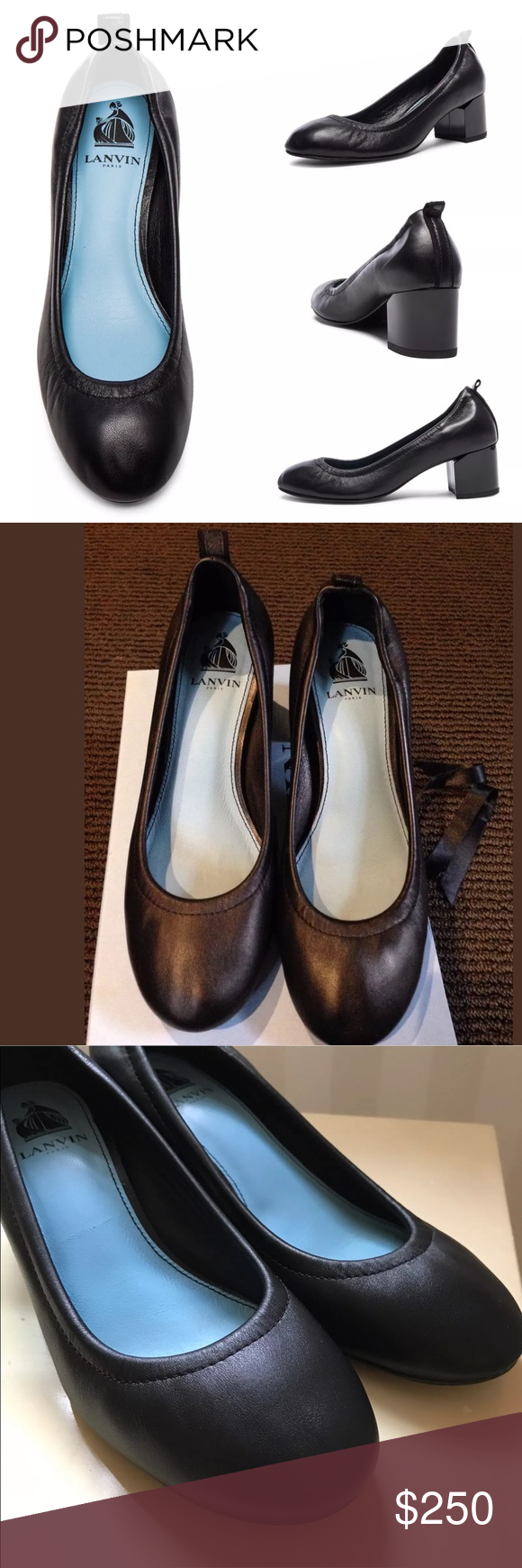 07a6ee7d0b59 Lanvin Black Leather Cube-Heel Ballerina Pump NEW WITH BOX. Lanvin Leather  Chunky-