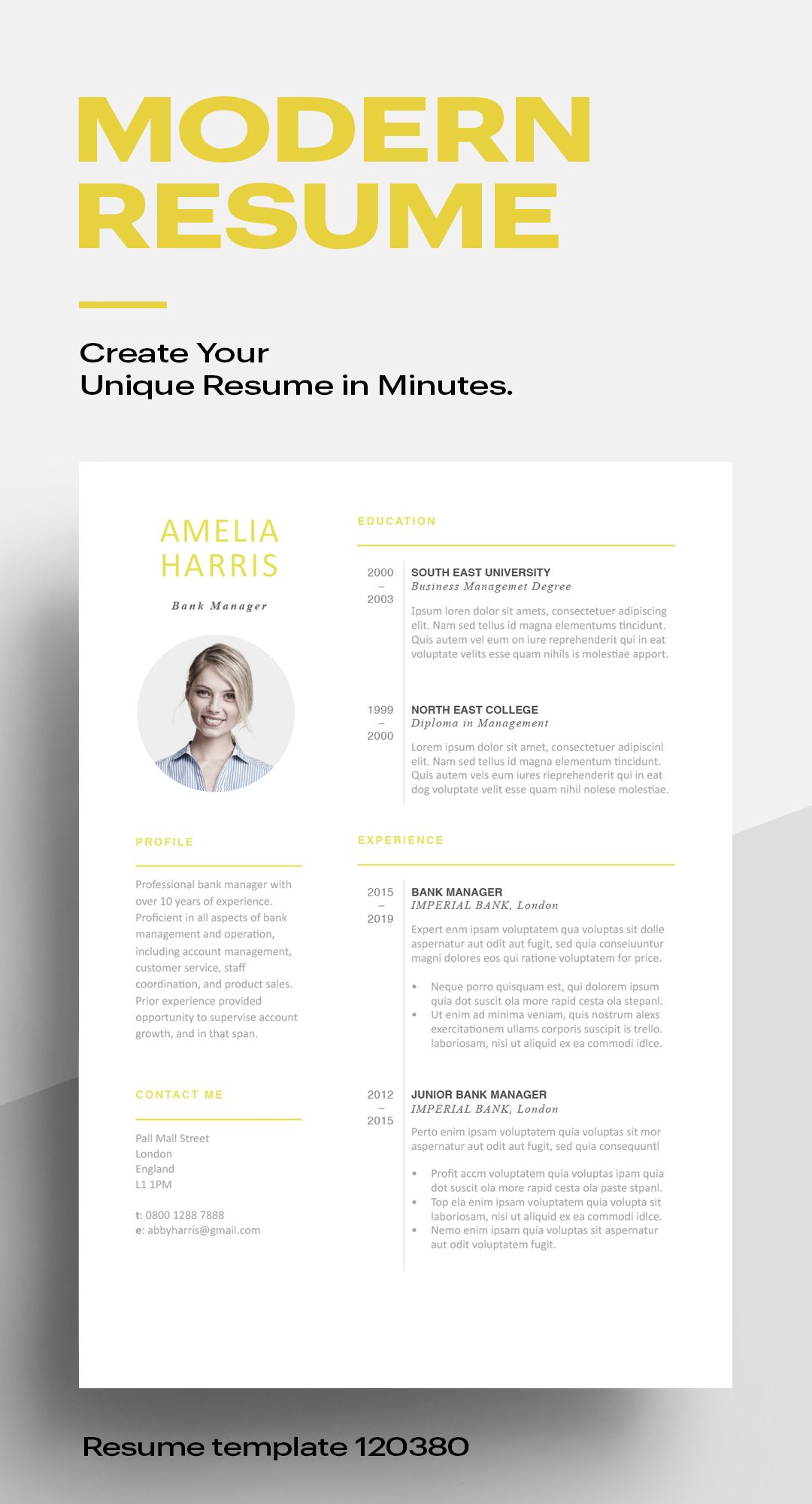 modern resume template 120460 (color yellow) resumeway sample accounting internship barista objective cv format for hr professional