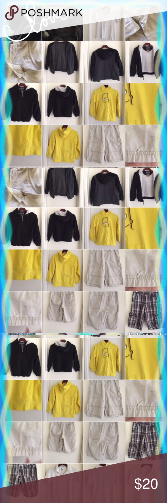 2 Shorts, 4 t-shirts, 3 jackets  for $20.00 Shorts, polo shirts, jackets 9 pc for &20.00 Shorts size 12-14  polo shirts 12-14  Jackets size 10 the other is don't have tag but I thing is 10 Shirts & Tops Tees - Short Sleeve