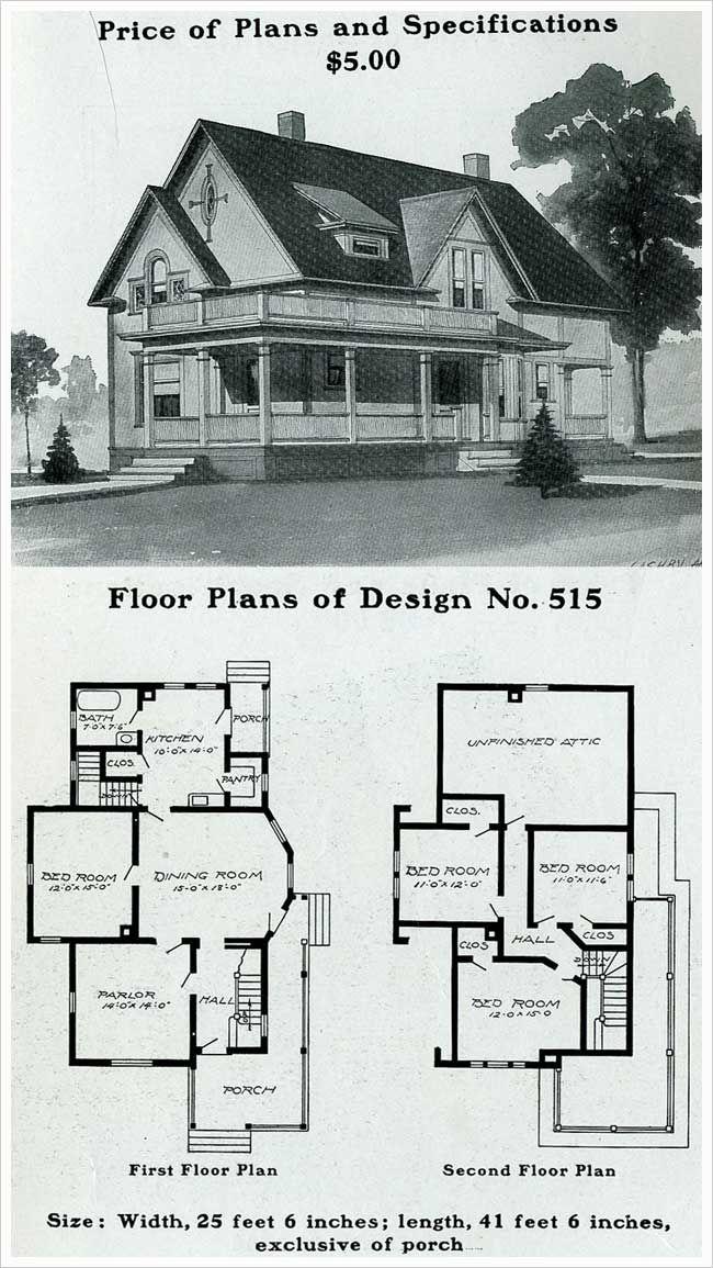radford 1903 queen anne free classic wrap around porch vintage house - Vintage Farmhouse Plans