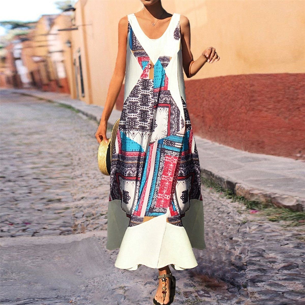 Summer Colorful Striped Loose Vacation Dress Ebuytide Vacation Dresses Vacation Dresses Beach V Summer Dresses For Women Boho Summer Dresses Vacation Dresses [ 1200 x 1200 Pixel ]