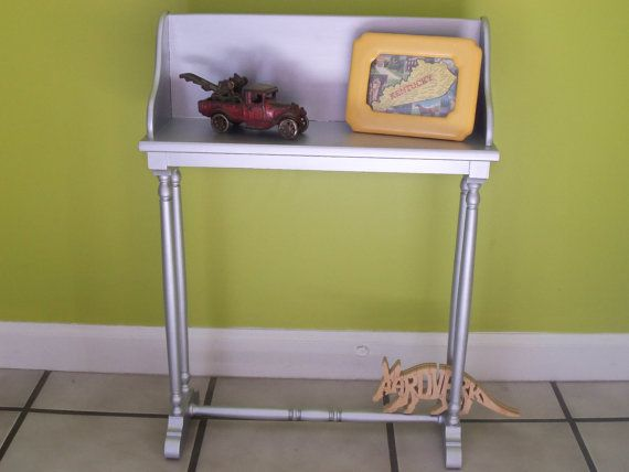 Small Vintage Silver Painted Wood Side Table By AardvarkFurniture, $38.50