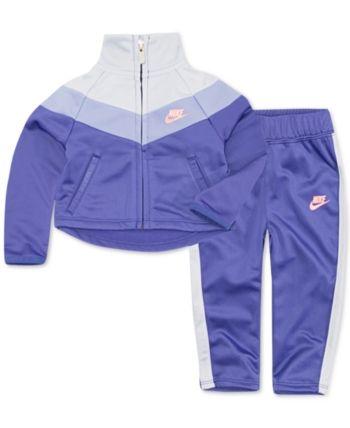 0dd9ee735 Nike Little Girls 2-Pc. Chevron Track Suit Set - Purple 6 Girls Tracksuit