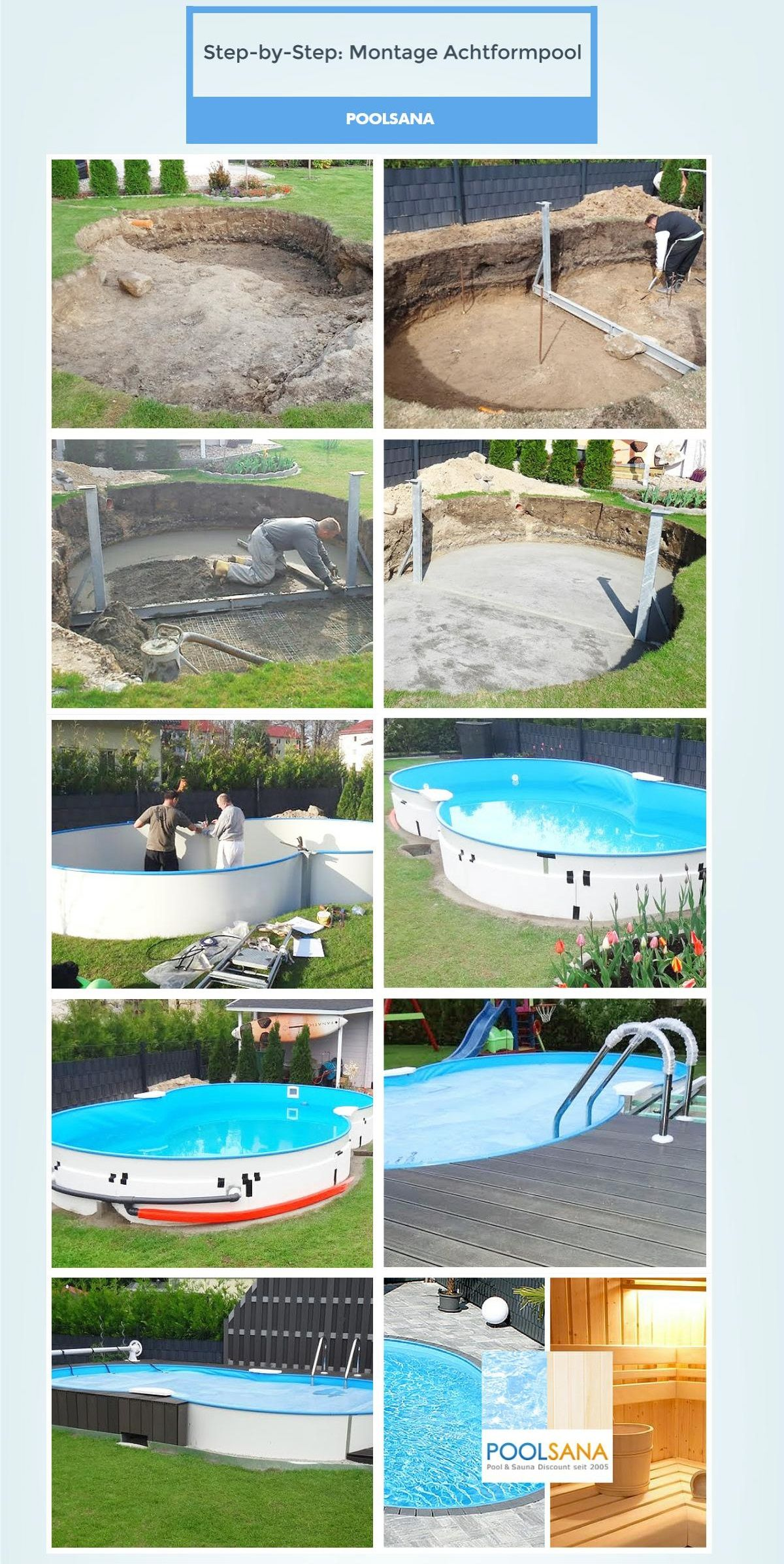 pool diy achtformpool step by step so einfach ist die montage eines diy garten. Black Bedroom Furniture Sets. Home Design Ideas