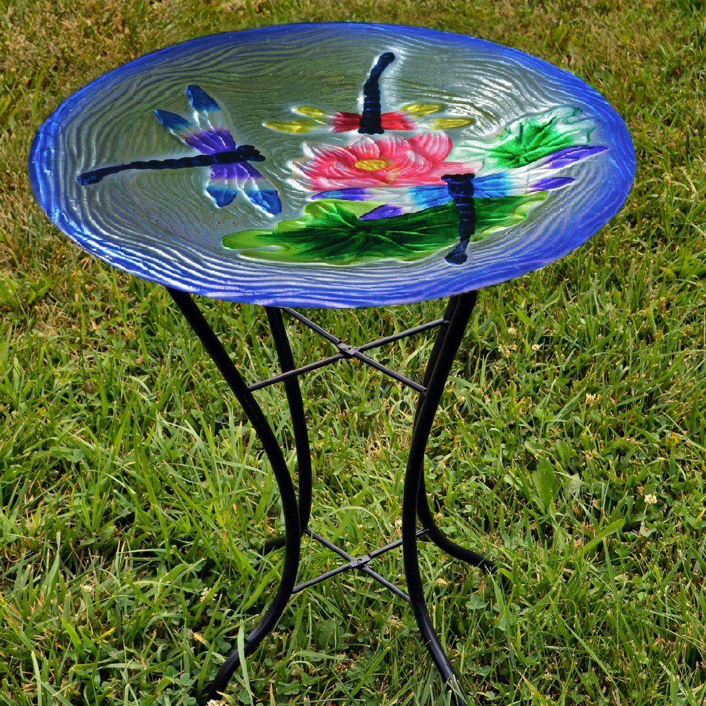 Dragonflies Glass Bird Bath W Stand Glass Bird Bath Bird Bath Glass Birds