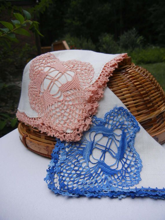 Set of Vintage Linen Handkerchiefs with Crochet Lace Edgings and ...