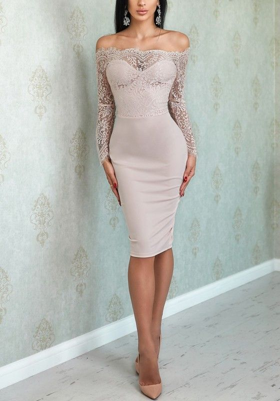 ee6619fb78f Pink Lace Off Shoulder Backless Bodycon For Wedding Elegant Banquet Party Midi  Dress - Midi Dresses - Dresses