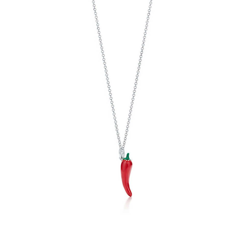 1c7bd7509 Tiffany & Co. - Paloma Picasso® chili pepper charm in silver with enamel  finish on a chain.