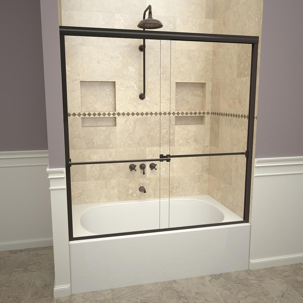 Redi Slide 1000 Series 60 In W X 57 In H Semi Frameless Sliding Tub Doors In Oil Rubbed Bronze With Towel Bar And Clear Glass In 2020 Shower Doors Frameless Sliding